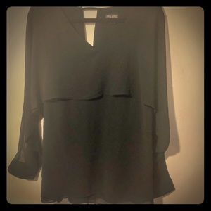 City Chic Black Dressy Top With Flowy Sleeves